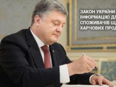 Підписан Закон України про інформацію для споживачів щодо харчових продуктів!